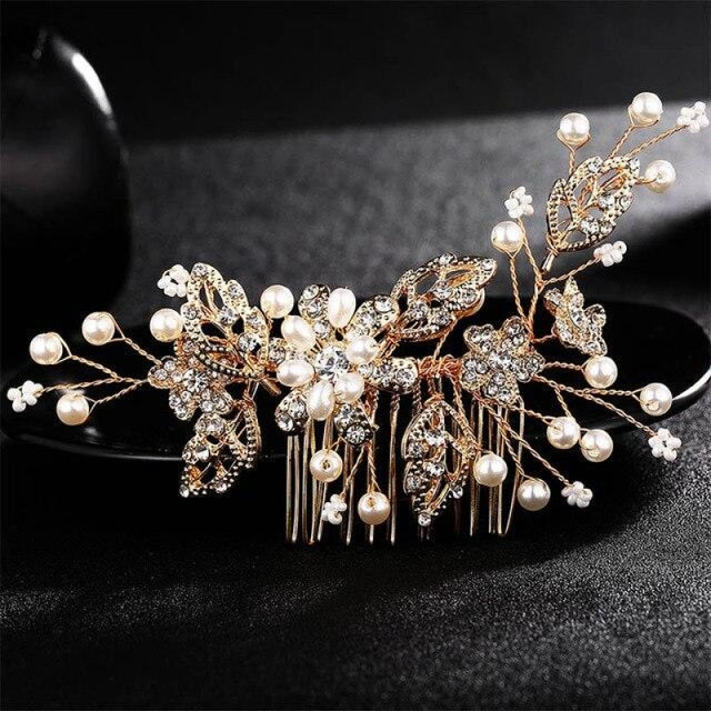 Flower Crystal Jewelry Rhinestones Combs & Barrettes | Bridelily - Gold - combs & barrettes
