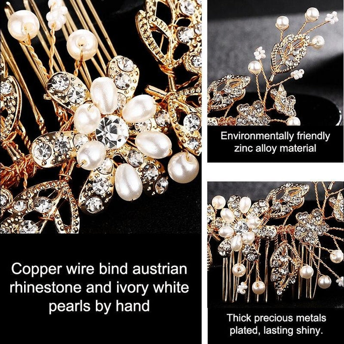 Flower Crystal Jewelry Rhinestones Combs & Barrettes | Bridelily - combs & barrettes