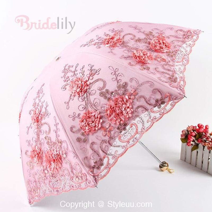 Flower Embroidery Double layers Wedding Umbrellas | Bridelily - wedding umbrellas