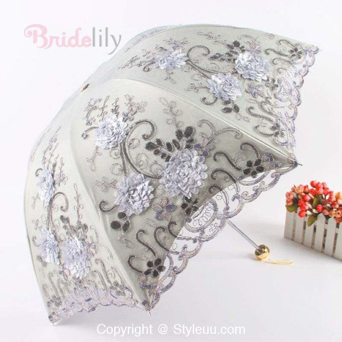 Flower Embroidery Lace Wedding Umbrellas | Bridelily - wedding umbrellas