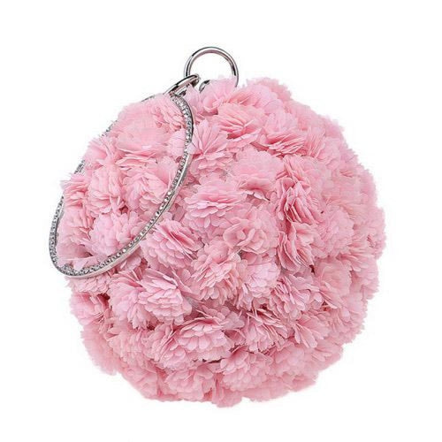 Flower Handmade Bag Cirular Shaped Wedding Handbags | Bridelily - YM1177pink - wedding handbags