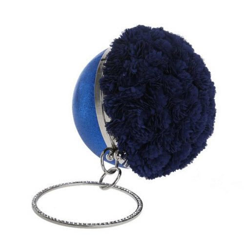 Flower Handmade Bag Cirular Shaped Wedding Handbags | Bridelily - YM1177blue - wedding handbags