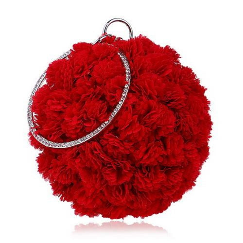 Flower Handmade Bag Cirular Shaped Wedding Handbags | Bridelily - YM1177red - wedding handbags