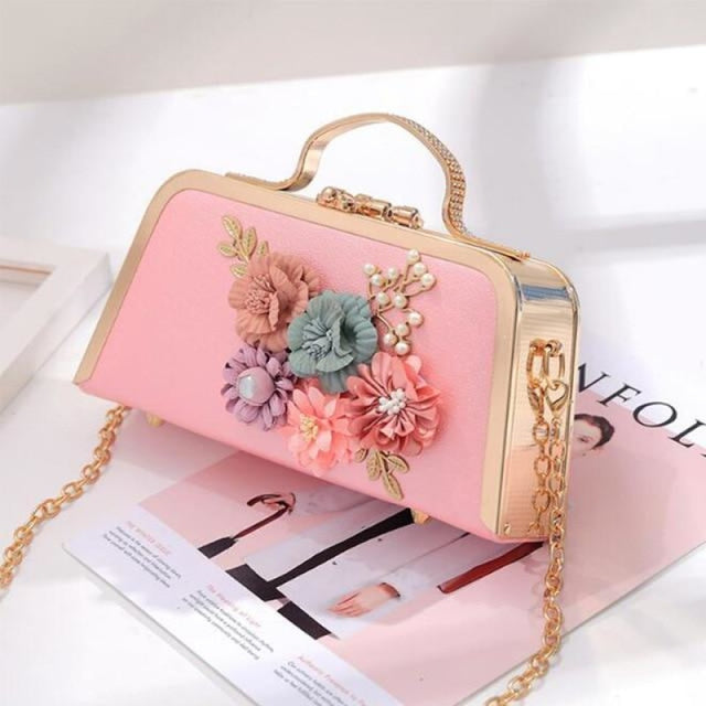 Flower Ladies Clutches Purse Wedding Handbags | Bridelily - Pink - wedding handbags