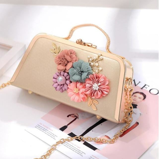 Flower Ladies Clutches Purse Wedding Handbags | Bridelily - Gold - wedding handbags