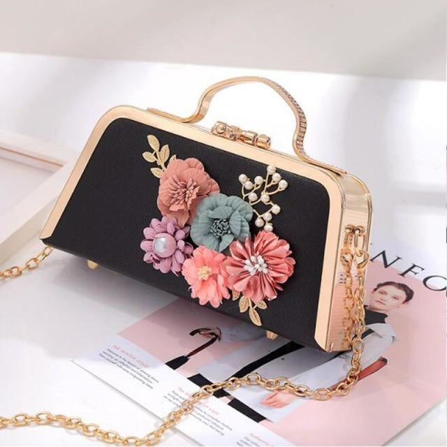 Flower Ladies Clutches Purse Wedding Handbags | Bridelily - Black - wedding handbags