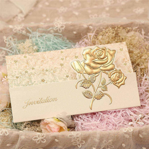 Flower Style Tri-Fold Invitation Cards (Set of 50) | Bridelily - As shown in the picture / English / Blank - invitation cards
