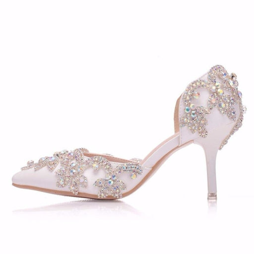 Flowers Crystal Ponited Head Wedding Sandals | Bridelily - wedding sandals