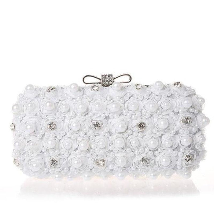Flowers Noble Hand Pearl Bow Wedding Handbags | Bridelily - wedding handbags