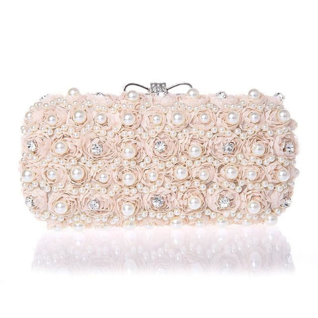 Flowers Noble Hand Pearl Bow Wedding Handbags | Bridelily - pink - wedding handbags