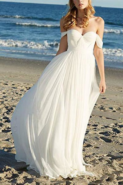 Flowy Off the Shoulder Chiffon Beach Simple Long Pleated Wedding Dress - Wedding Dresses