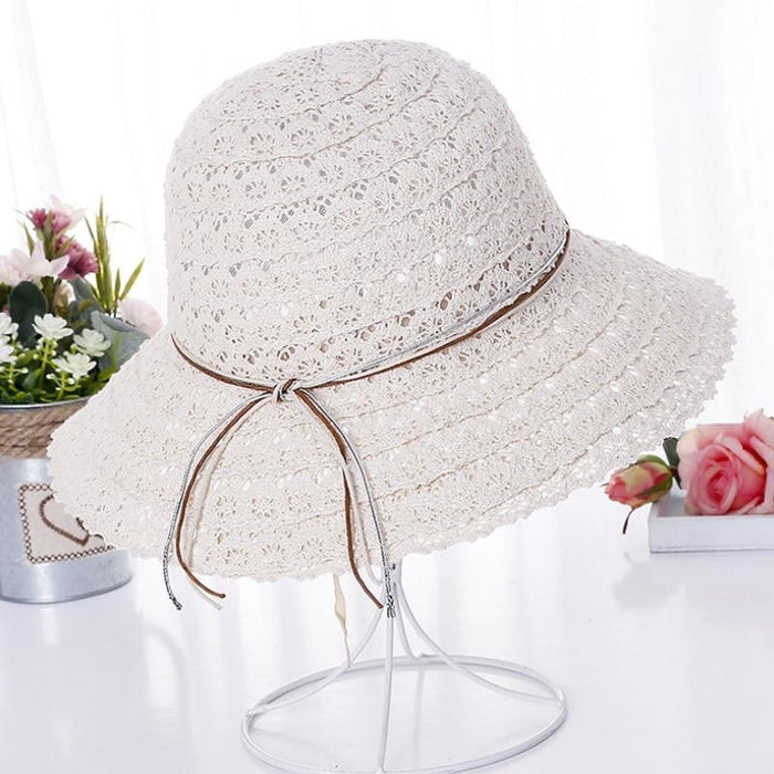 Foldable Cotton Bow Lace Hollow Floppy Hats | Bridelily - Beige - floppy hats