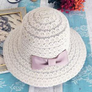 Foldable Cotton Bow Lace Hollow Floppy Hats | Bridelily - Beige 1 - floppy hats