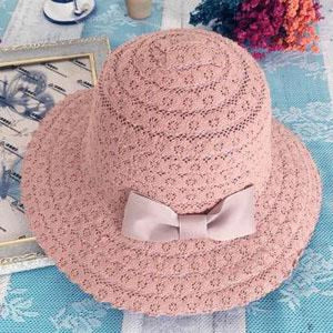Foldable Cotton Bow Lace Hollow Floppy Hats | Bridelily - Pink 1 - floppy hats