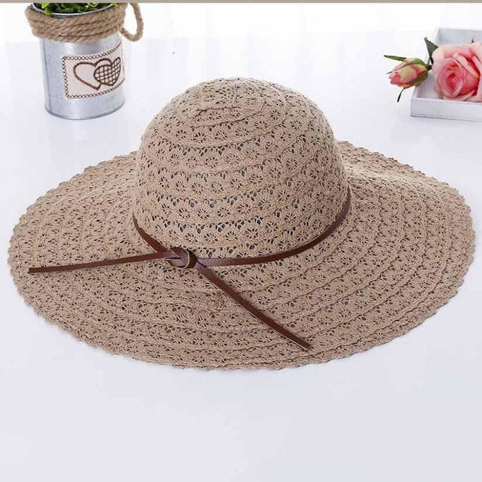 Foldable Cotton Bow Lace Hollow Floppy Hats | Bridelily - floppy hats