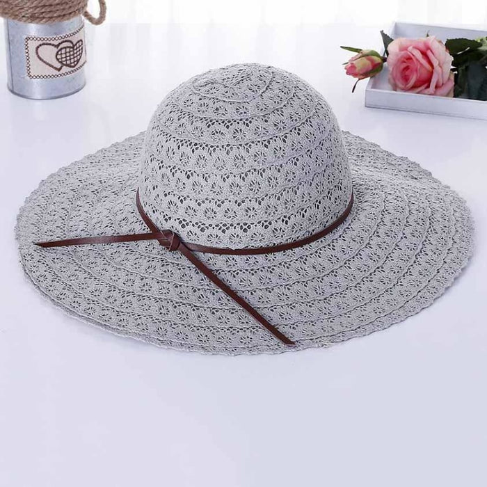Foldable Cotton Bow Lace Hollow Floppy Hats | Bridelily - Gray 1 - floppy hats