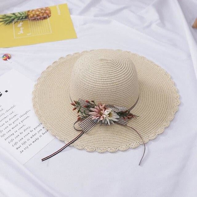 Foldable Flowers Straw Wide Brim Beach/Sun Hats | Bridelily - beach/sun hats