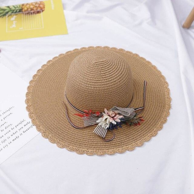Foldable Flowers Straw Wide Brim Beach/Sun Hats | Bridelily - Light coffee / adult size - beach/sun hats