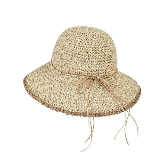 Foldable Solid Dome Floppy Wide Brim Straw Hats | Bridelily - Beige Straw Hat / One Size - straw hats