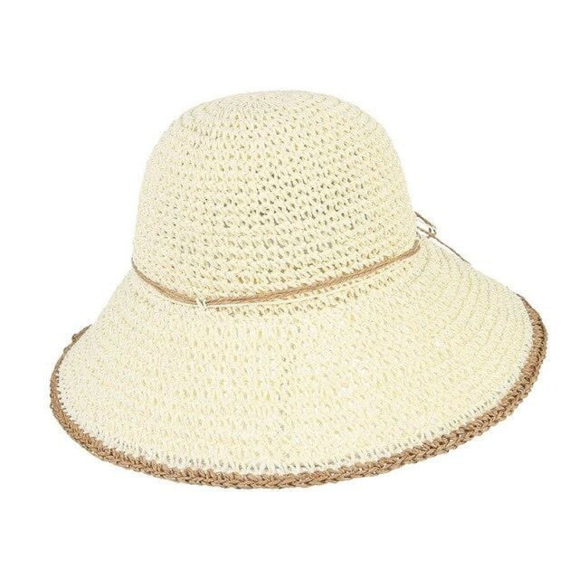 Foldable Solid Dome Floppy Wide Brim Straw Hats | Bridelily - White Straw Hat / One Size - straw hats