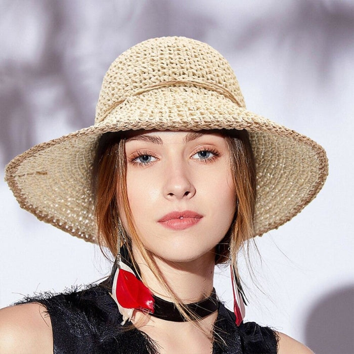Foldable Solid Dome Floppy Wide Brim Straw Hats | Bridelily - straw hats