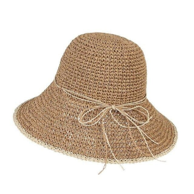 Foldable Solid Dome Floppy Wide Brim Straw Hats | Bridelily - Khaki Straw Hat / One Size - straw hats