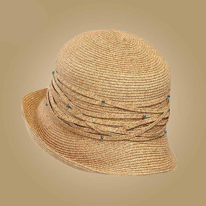 Foldable Sunbonnet Bowknot Crystal Straw Hats | Bridelily - straw hats