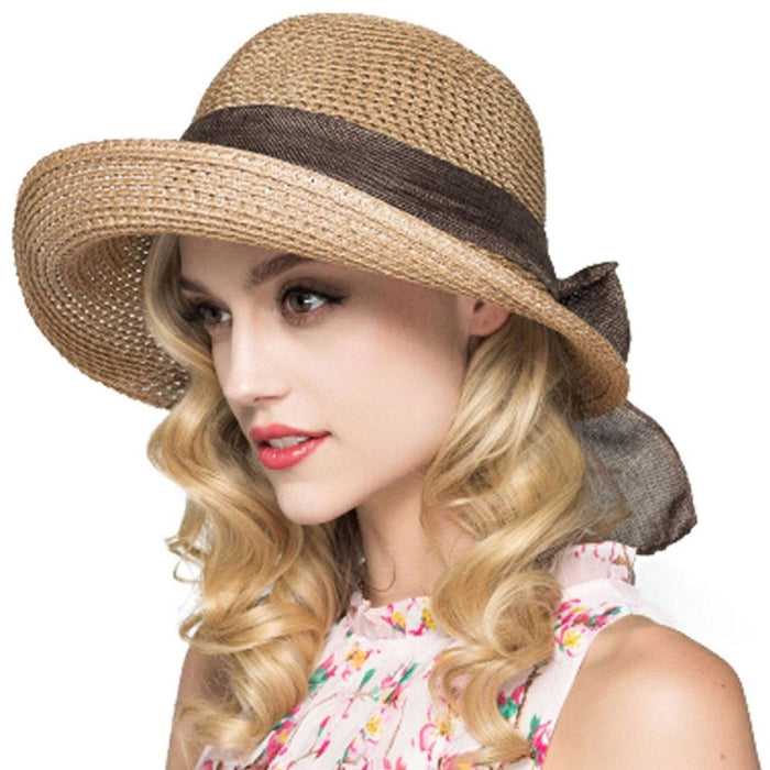 Foldable Sunbonnet Bowknot Wide Brim Straw Hats | Bridelily - Beige White StrawHat - straw hats
