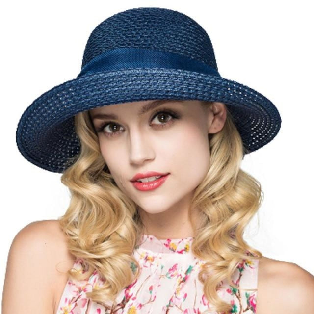 Foldable Sunbonnet Bowknot Wide Brim Straw Hats | Bridelily - Navy Blue Straw Hat - straw hats