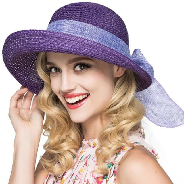 Foldable Sunbonnet Bowknot Wide Brim Straw Hats | Bridelily - Purple Straw Hat - straw hats