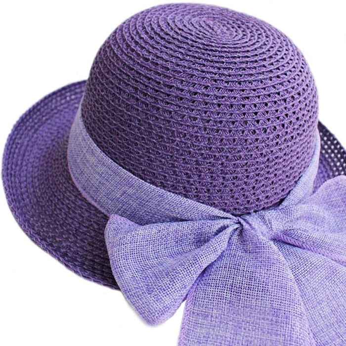 Foldable Sunbonnet Bowknot Wide Brim Straw Hats | Bridelily - straw hats