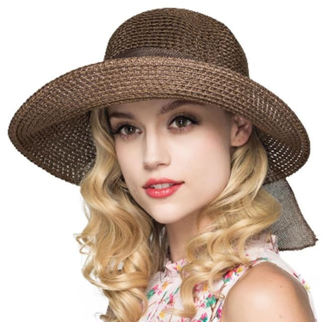 Foldable Sunbonnet Bowknot Wide Brim Straw Hats | Bridelily - Deep Brown Straw Hat - straw hats
