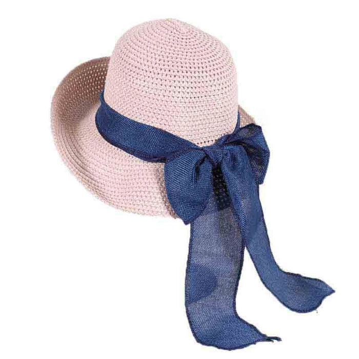 Foldable Sunbonnet Bowknot Wide Brim Straw Hats | Bridelily - Pink Straw Hat - straw hats