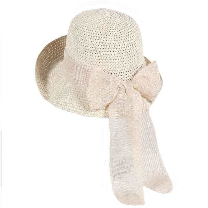 Foldable Sunbonnet Bowknot Wide Brim Straw Hats | Bridelily - Light Brown StrawHat - straw hats
