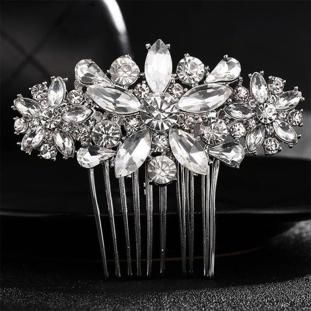 Full Crystal Rhinestone Fashion Womens Combs & Barrettes | Bridelily - Silver - combs and barrettes