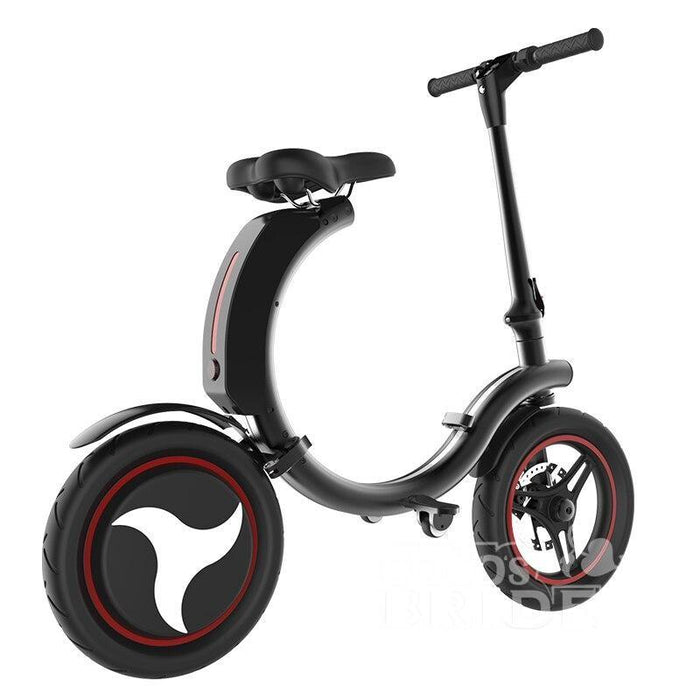 Full Folding Electric Bike 14 inch Big Wheel Electric Bicycle with Disc Brake and Electronic Brake 35km/h Max Speed Mini E-bike - Black