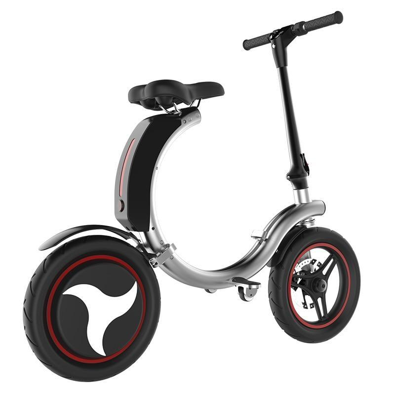 Full Folding Electric Bike 14 inch Big Wheel Electric Bicycle with Disc Brake and Electronic Brake 35km/h Max Speed Mini E-bike - Silver