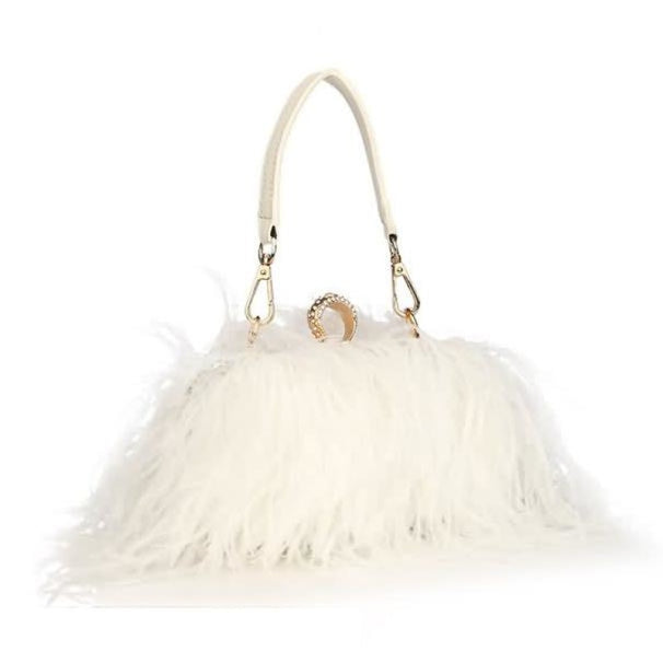 Fur Feather Chain Knuckle Rings Wedding Handbags | Bridelily - white - wedding handbags