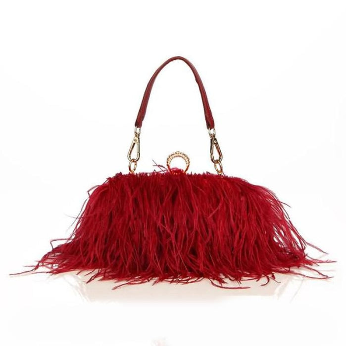 Fur Feather Chain Knuckle Rings Wedding Handbags | Bridelily - Red - wedding handbags