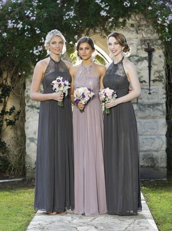 Generous Halter Floor-Length Grey Bridesmaid Dress - Bridesmaid Dresses