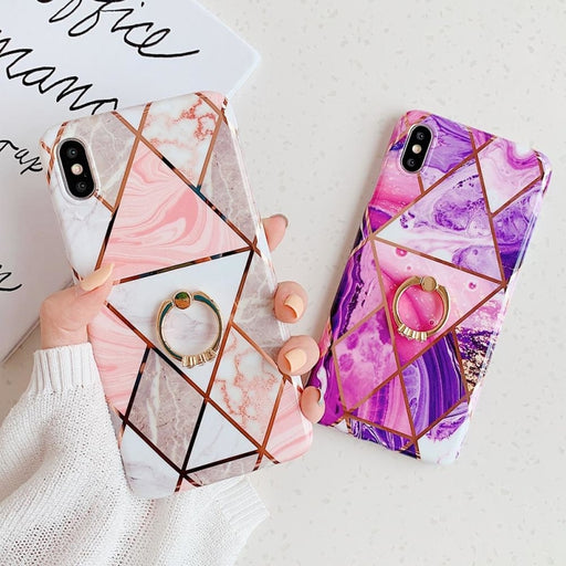 Geometric Marble Ring Holder Phone Case For iPhone