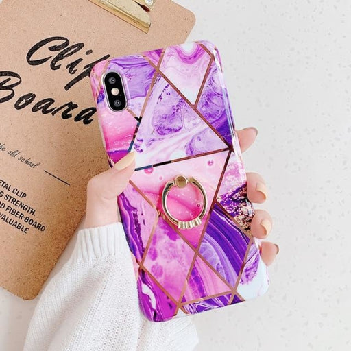 Geometric Marble Ring Holder Phone Case For iPhone - For iPhone 11 / b