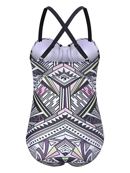 Geometric Printing Criss-cross Back Sleeveless One-Pieces Swimsuit - Plus Size One Piece