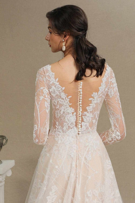 Gergrous Long Sleeve Lace Rulle Tulle A-line Wedding Dress - wedding dresses