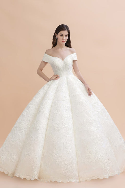 Gergrous Off The Shoulder Lace Beads Ball Gown Wedding Dress - wedding dresses