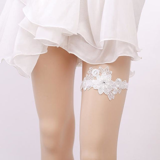 Girl White Embroidery Floral Wedding Garters | Bridelily - White / One size - garters