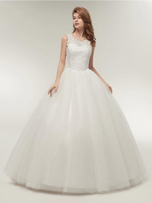 Glamorous Appliques Lace Up Ball Gown Wedding Dresses - pure white / Floor Length - wedding dresses