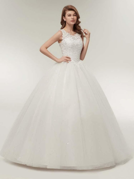 Glamorous Appliques Lace Up Ball Gown Wedding Dresses - wedding dresses