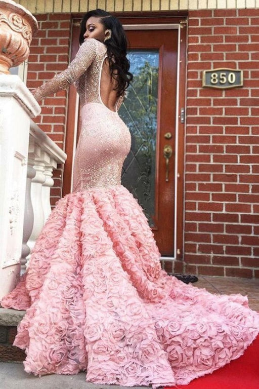 Glamorous Beading Sheer Long Sleeves Flowers Mermaid Prom Dresses - Prom Dresses