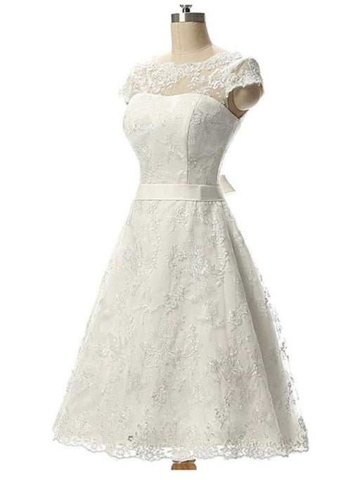 Glamorous Cap Sleeves Covered Button Ribbon Wedding Dresses - wedding dresses